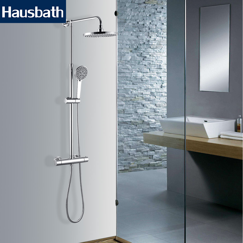 Bath Shower Faucet Set Thermostatic Faucet Mixer Tap Bathtub TapTemperature Control Waterfall Rain Bathroom Shower Head luxury high quality bathroom chrome rain shower set thermostatic shower faucet bath