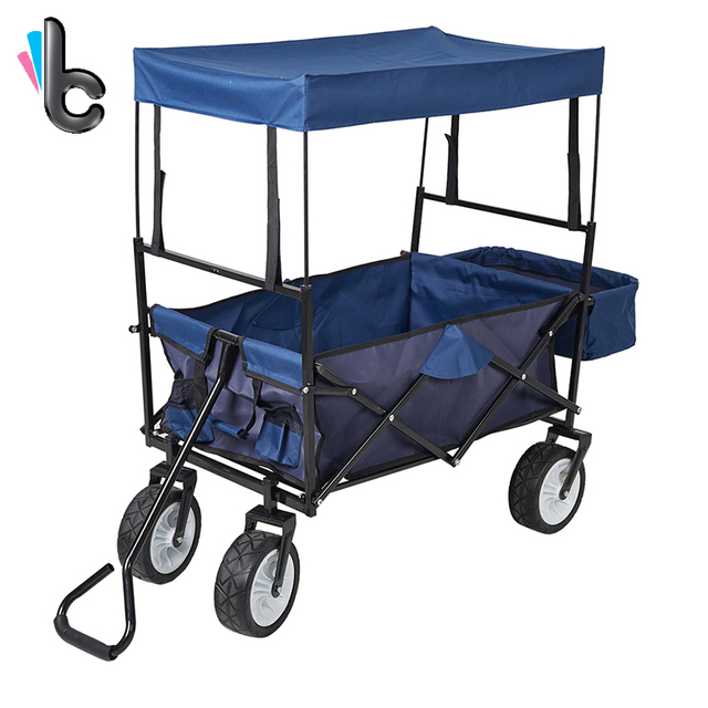 outdoor folding wagon collapsible utility cart with removable canopy and storage basket garden trolley - Garden Utility Cart
