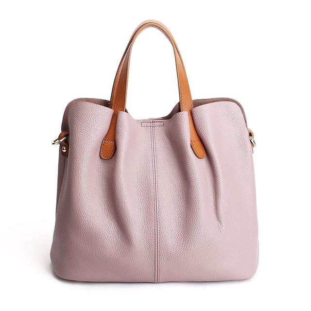 Genuine Leather handbags head layer cowhide litchi grain women handbags fashion Portable shoulder messenger bags composite bags 3
