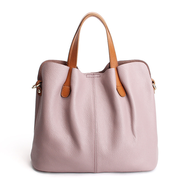 Genuine Leather handbags head layer cowhide litchi grain women