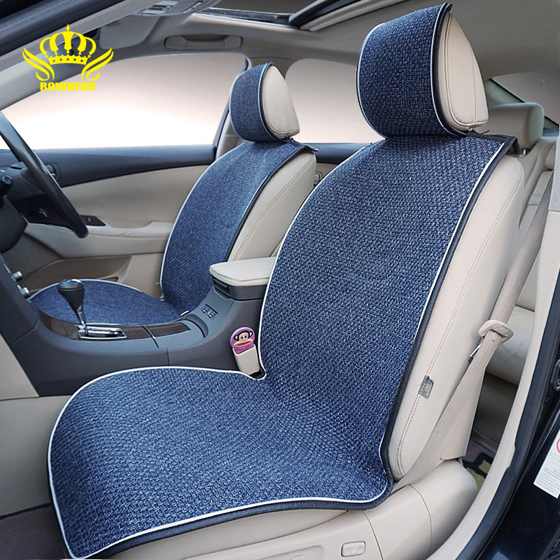 ROWNFUR New Arrival 1pcs Universal Car Seat Covers For Front Seats Four Seasons Flax Seat Covers Interior Seat Protect Cushion new crown rivets ice silk car seat covers auto interior summer seat cushion accessories universal car front seat covers 1pcs