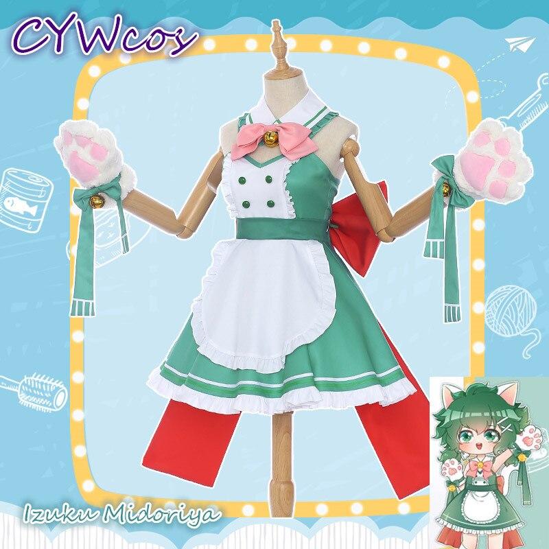Anime Cosplay mon héros académique café Shop petit héros Izuku Midoriya deku café femme de chambre femme Cosplay Costume chat femme robe