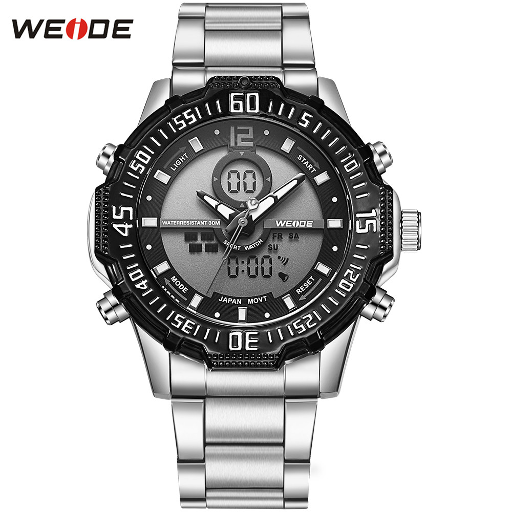 Top Brand Fashion WEIDE Men Steel Band Analog Watch Men's Digital Quartz LED Male 30m Waterproof Sports Army Wristwatch Relogios купить недорого в Москве