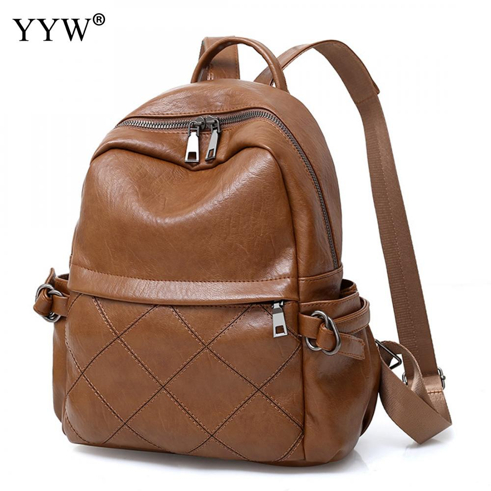 Solid PU Leather Small Laptop Backpack Female 2018 Brown School Backpacks for Children High Quality Black Plaid Ladys Bags