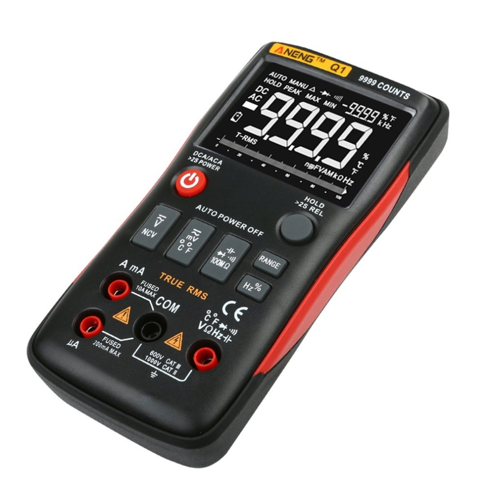 Digital Multimeter ANENG Q1 9999 Counts True RMS Auto/Manual Range AC/DC Volt Amp Ohm Capacitance Frequency Temperature Tester uni t ut61a b c d e counts digital multimeter with auto range dc ac voltage current ohm capacitance diode true rms
