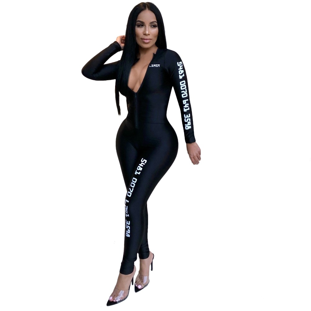 26eeaea1cf 2018 Full Sleeve Jumpsuits Autumn Winter women Overalls Woven Number Print  Outfits casual sexy fashion Bandage