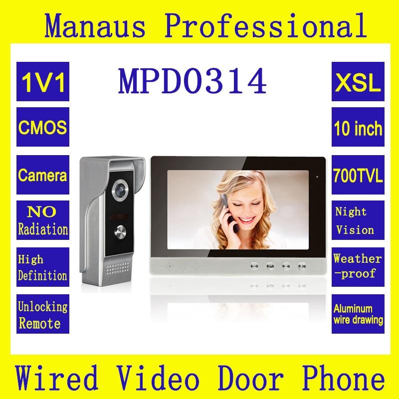 New Outdoor Waterproof Camera & 10 Inches Screen Video Intercom 700TVL Super backlight compensation Infrared Night Vision D0314