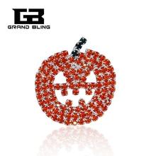 Rhinestone Pumpkin Brooch Pin for Halloween Gift FREE SHIPPING rhinestone faux gem halloween spider brooch