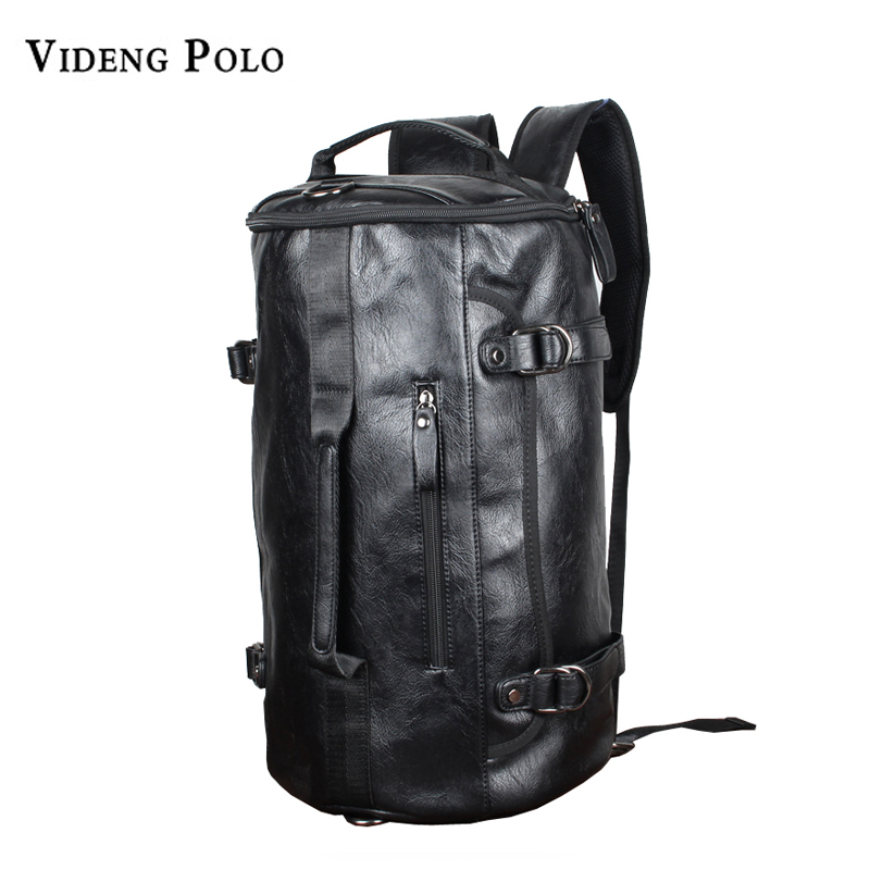 VIDENG POLO Brand High Quality Men Backpacks PU Leather Black Fashion CylinderTravel Shoulder Bag for Male Mochila Schoolbag