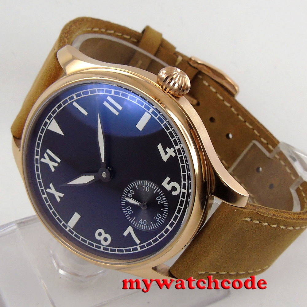 44mm parnis black dial rose case cow leather 6498 hand winding mens watch P587B corgeut 44mm white dial rose golden case hand winding 6498 mens watch
