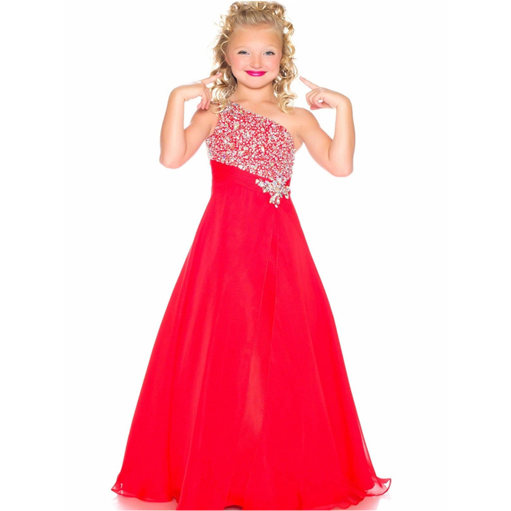 2016 Organza Beaded Flower Girls Dress One Shoulder First Communion Dresses Long Girls Pageant Dresses A-Line Kids Evening Gowns