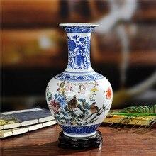 Вышивка Крестом Пакет почты Цзиндэчжэнь керамика синий и белого цвета ведро ваза для цветов Современная Бытовая Ремесленная предметы мебели
