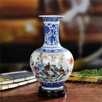 Package mail Jingdezhen ceramics Blue and white color bucket flower vase Modern household handicraft furnishing articles