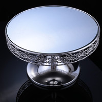 2pcs/lot Free Shipment Traditional Style Cake Stand Silver Plate Mirror Surface Dessert Tray for Wedding Patry Table Decoration