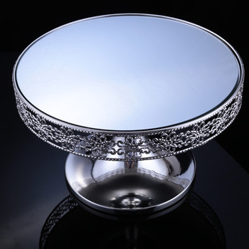 2pcs/lot Free-Shipment Traditional Style Cake Stand Silver Plate Mirror Surface Dessert Tray for Wedding Patry Table Decoration