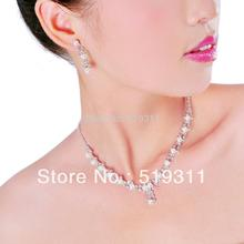 Wedding Jewelry Set Gifts Imitate pearl sets Promotion! Pretty beautiful Rhinestone Crystal Necklace Earrings & forehead