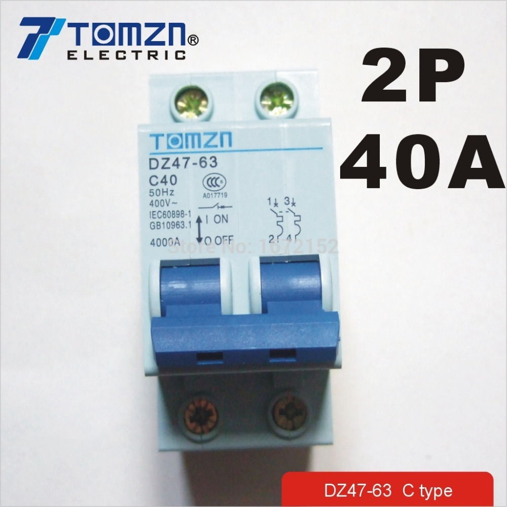 2P 40A 400V~ 50HZ/60HZ Circuit breaker AC MCB safety breaker C type dz47 100h 63a 2p ac 230v or 400v mini circuit breaker mcb cutout switch breaker switch chopper 2pcs