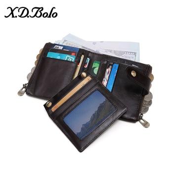 X.D.BOLO 2019 Men's Wallet Genuine Leather Male Wallets Coin Pocket Money Bag Fashion Men's Purses With Card Holder Carteras