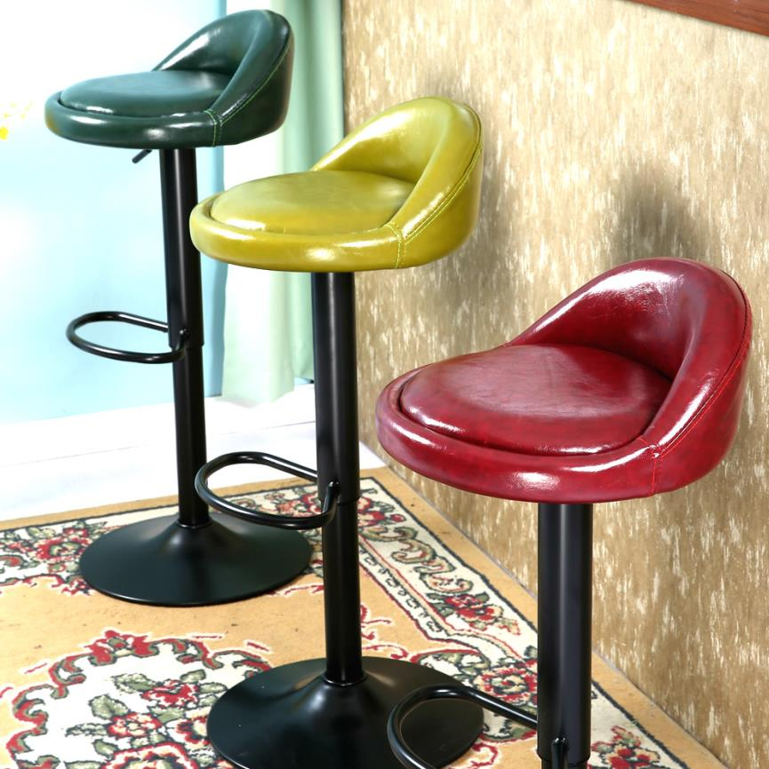 Retro Lift Bar Stool European Bar Highchair Stool Front Desk Chair Rotary Back Chair Coffee front lift chair bar chairs continental tall stool stylish