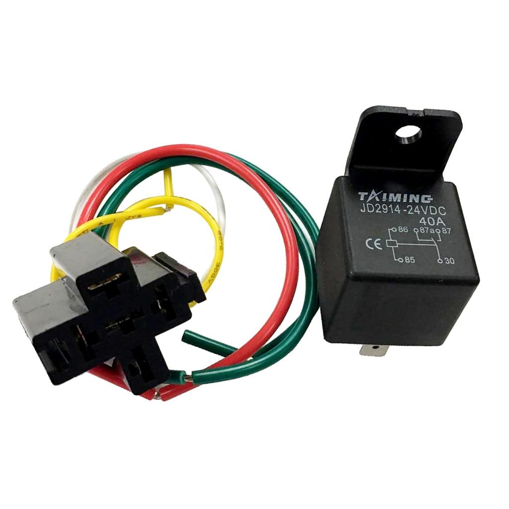 Automotive Car Auto Truck Relay Harness Set Heavy Duty Spst Relay   24v 40a 5 Pin Prewired