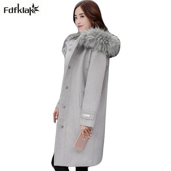 Donne di alta qualità cappotto con collo di pelliccia con cappuccio inverno  cappotto femminile cachemire misto 9f625e27ce7