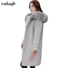 Revestimento das mulheres com gola de pele de inverno com capuz de alta qualidade casaco feminino longo de cashmere de lã mistura jacket magro casacos de lã XXL