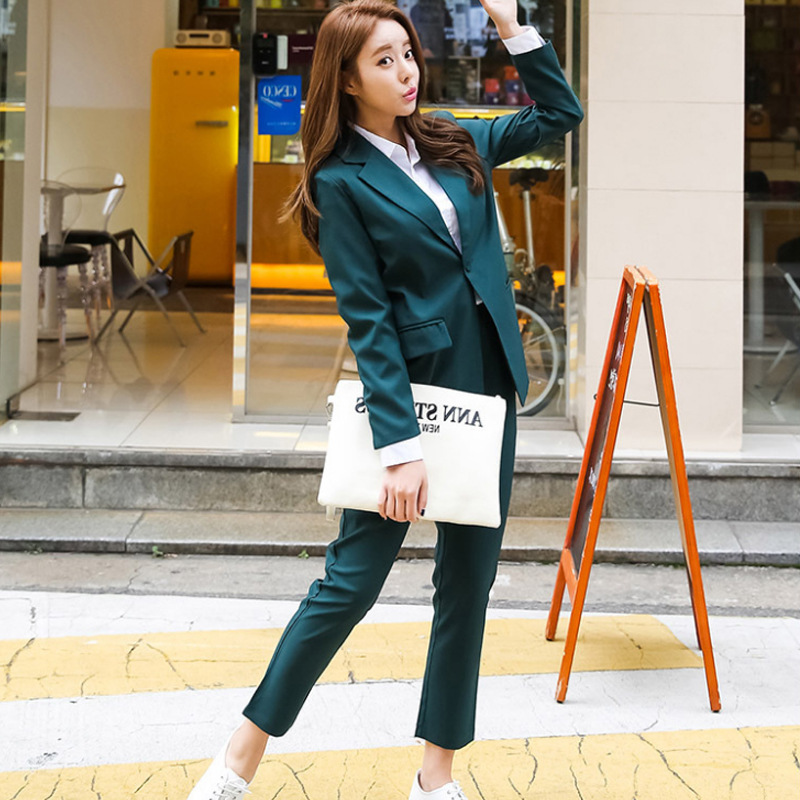 Work Pant Suits OL 2 Piece Set For Women Business Interview Uniform Smil Blazer And Pencil Pant Office Lady Suit Set