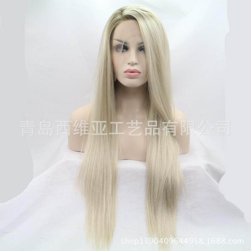 ФОТО  Fashion Top Quality Two Tones Brown / Blonde Ombre Long Straight Wigs Glueless Synthetic Lace Front Wig Heat Resistant Fiber