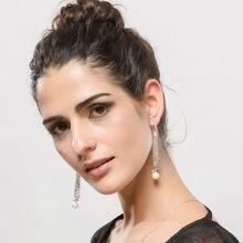 Brand New Jewelry Female Dangle Earrings Drop Solid 925 Sterling Silver Pearl Charming Wedding Party Women Tassel Earrings
