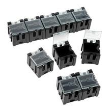 DRELD 10 шт. антистатические коробки компонентов чехол для хранения ESD ящик для инструментов черный маленький электронный компонент SMT/SMD комплект в сборе