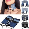 2017 Fashion Blue Jeans Choker Denim Necklace Women Punk Tattoo Choker Chocker Ladies Velvet Choker collares mujer bijoux femme