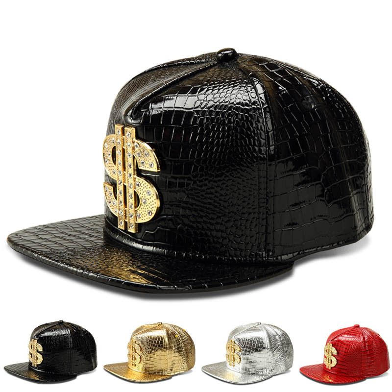 New-Fashion-PU-Mens-Hip-Hop-Baseball-Caps-Casual-Unisex-Outdoor-Hats-USD-Dollars-Gold-Silver