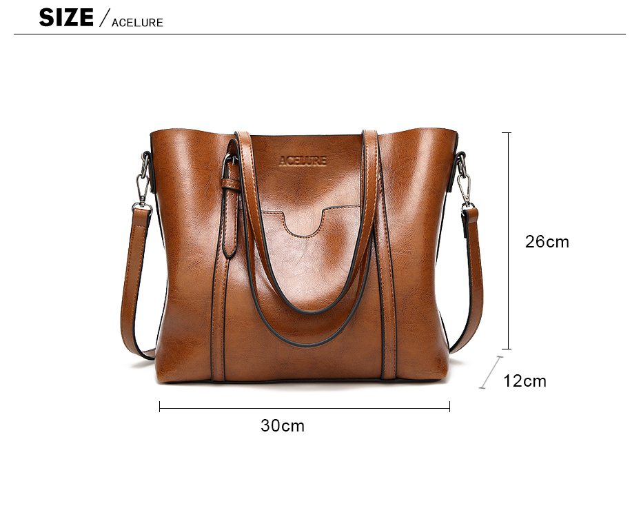 ACELURE Women bag Oil wax Women's Leather Handbags Luxury Lady Hand Bags With Purse Pocket Women messenger bag Big Tote Sac Bols 4