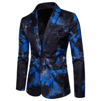 2018 new men's a buckle suit flame printing suit dress performance suit men's casual fashion cotton Leisure suit male Formal