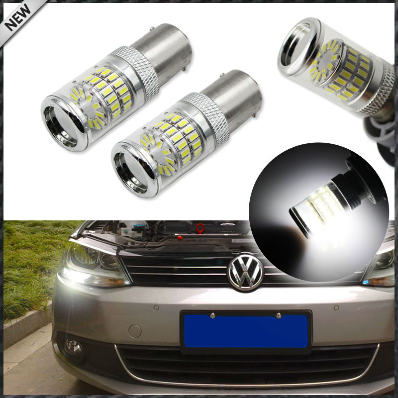 (2) CANbus Error Free HID White 1156 48-SMD Mirror Reflector LED Bulbs for 2011-2017 Volkswagen MK6 Jetta Daytime Running Lights wljh 2x canbus no error led p21w 1156 ba15s drl driving daytime running fog lamp light for vw sagitar jetta mk6 2011 2012 2013