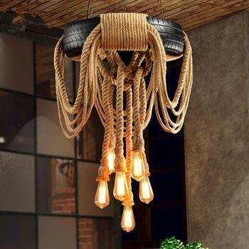 Moderne Hanglamp Loft Band Touw Hanglamp retro Suspension Lamp Dia62cm Voor Bar Coffee shop bar Home verlichting decora g157