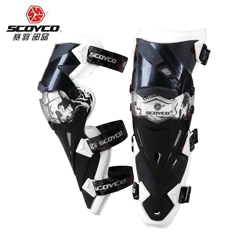Blanc Taille Libre Scoyco K12 Moto Genou Protecteur Moto Racing De Protection Genouillère Garde Moto Gear