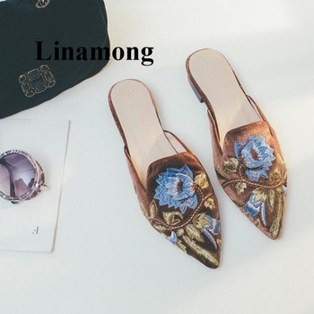 2018 Spring and summer Muller shoes retro gold velvet handmade embroidery half slippers female baotou pointed flat women's shoes