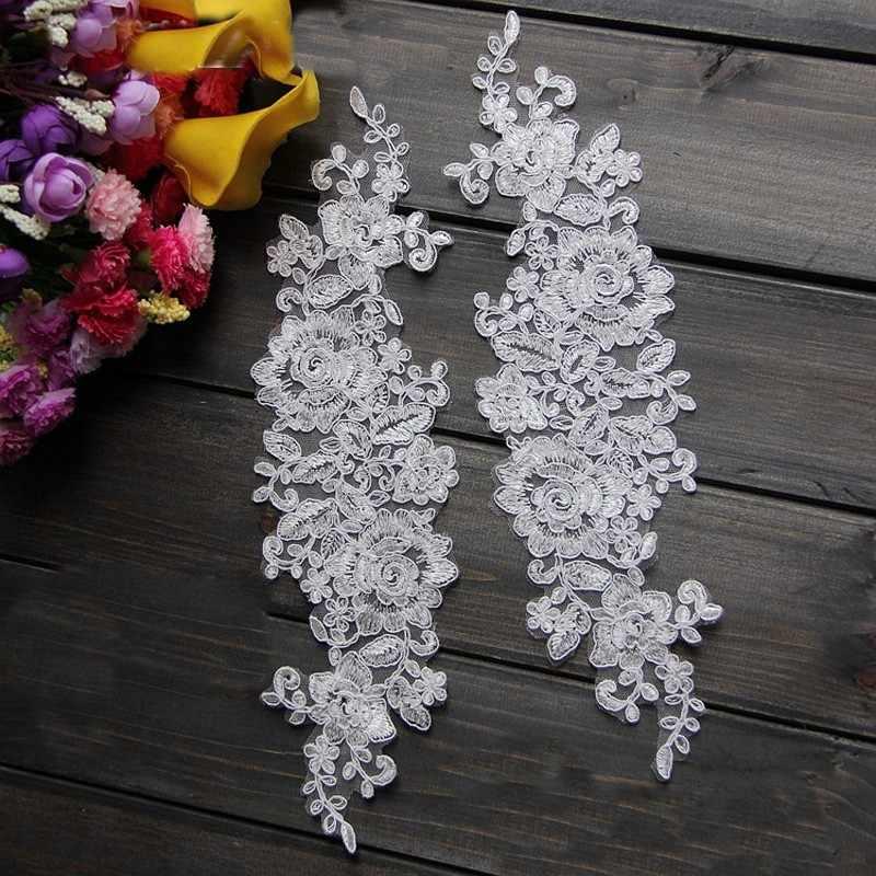 פופולרי Ganza רקמת חתונת כלה לבן פרחוני תחרה Applique Trims שנהב בד עבור weding שמלה