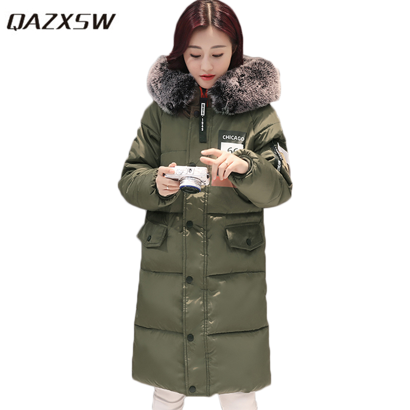 QAZXSW 2017 New Winter Cotton Coat Women Casual Padded Jacket Hooded Long Parkas For Girls Winter Coat Jaqueta Feminina HB283 qazxsw 2017 new winter cotton coat women slim hooded jacket two sides wear long parkas fur collar winter padded abrigos hb339