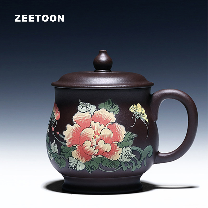 350ml Authentic Yixing Teacup Chinese Health Care Purple Clay Painting Peony Orchid Officc Cup Handmade Ceramics Coffee cups New