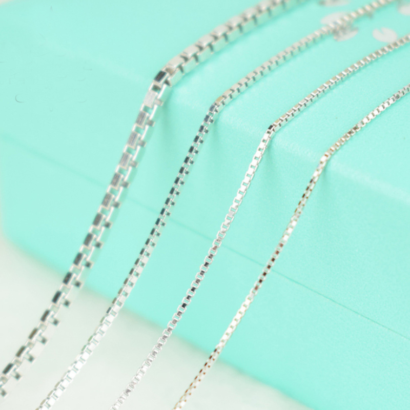 Unisex Real 925 Sterling Silver Box Chain Necklace for Pendants Charms for Womens Mens Children Kids Girls Boys Hot Jewelry Gift