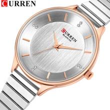 CURREN נשי שעון כסף קוורץ נשים שעונים עם נירוסטה רצועת 9041 אופנה גבירותיי שעון יד ביאן kol saati