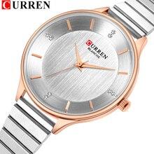 CURREN reloj femenino de cuarzo plata para mujer, con correa de acero inoxidable, de pulsera, bayan kol saati, 9041