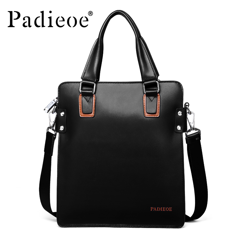 Padieoe Brand Men Shoulder Bags Top Genuine Leather Briefcase Men's Messenger Bag Business Casual Travel Bag Free Shipping padieoe men s genuine leather briefcase famous brand business cowhide leather men messenger bag casual handbags shoulder bags