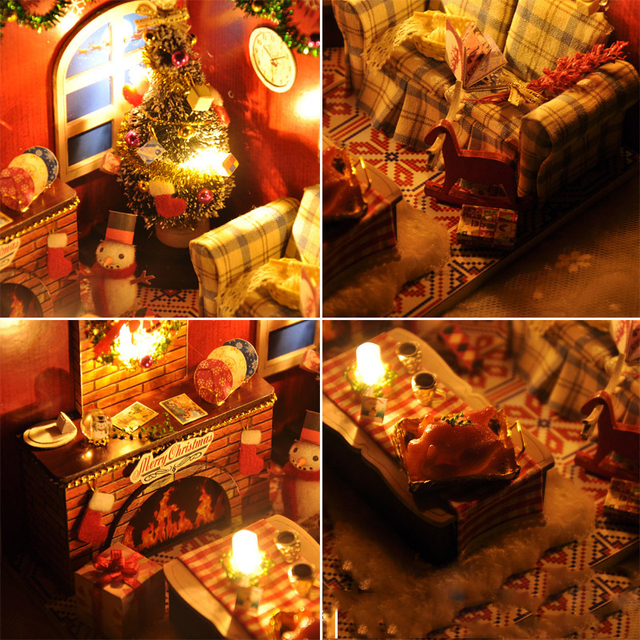 Christmas Room Designed Miniature DIY Wooden Doll House