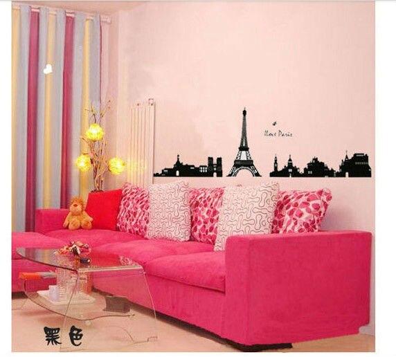 Paris Eiffel Tower Wall Decals Quotes Princess Cartoon Vinyl Wall Art  Window Baby Room Bathroom Wall