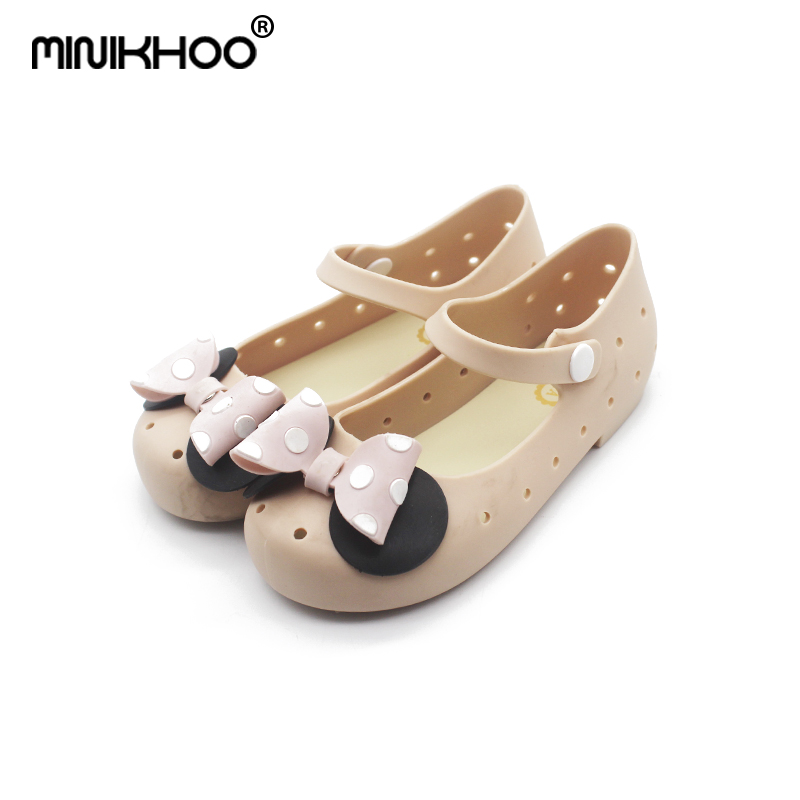Mini Melissa Mickey Point Bow Tie Girl Jelly Sandals 2018 New Children Shoes Frosted Princess Sandals Melissa Sandals Non-slip