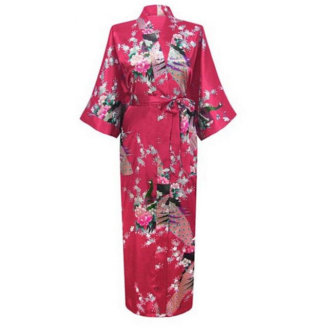 Sexy Charming Long Faux Silk Robe Gown Casual Nightgown Print Peacock&Flower Sleepwear Plus Size S-XXXL
