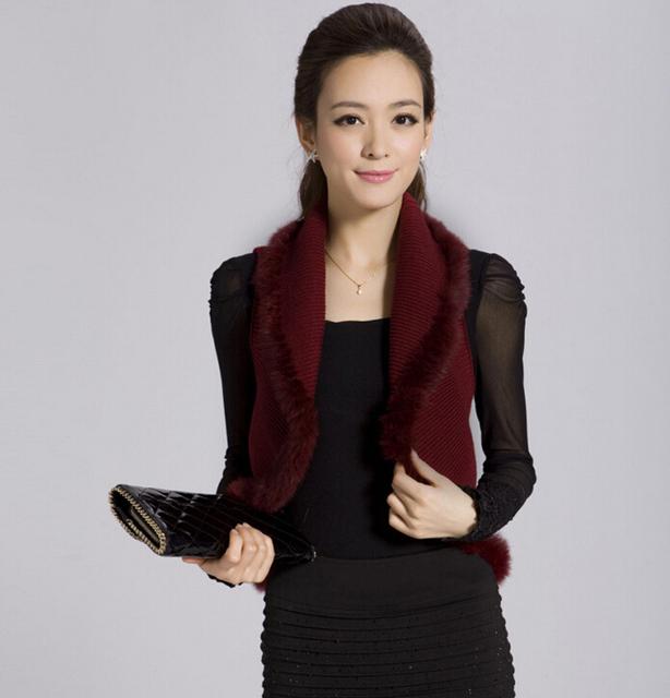 2016 salvaje color sólido chaqueta de punto chaleco/chaleco de punto suéter de las mujeres del chaleco de punto chaqueta corta 3 colores L XL 99-6E